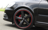schwarz matte Felge roter Rand lackiert Red-Line SAT21 LS21 © GT-Automotive GmbH & Co. KG
